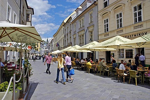 Street in the old town of Bratislava, Slovakia