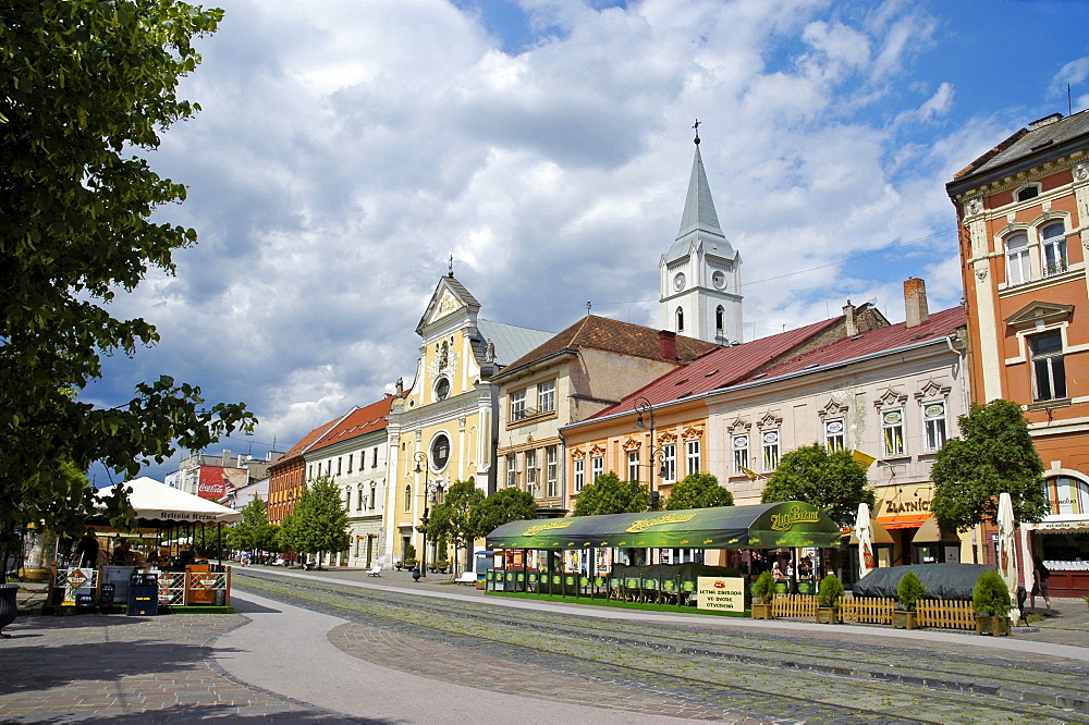 Main Street with the Franciscan Church, Kosice, Slovakia, Slovak Republic