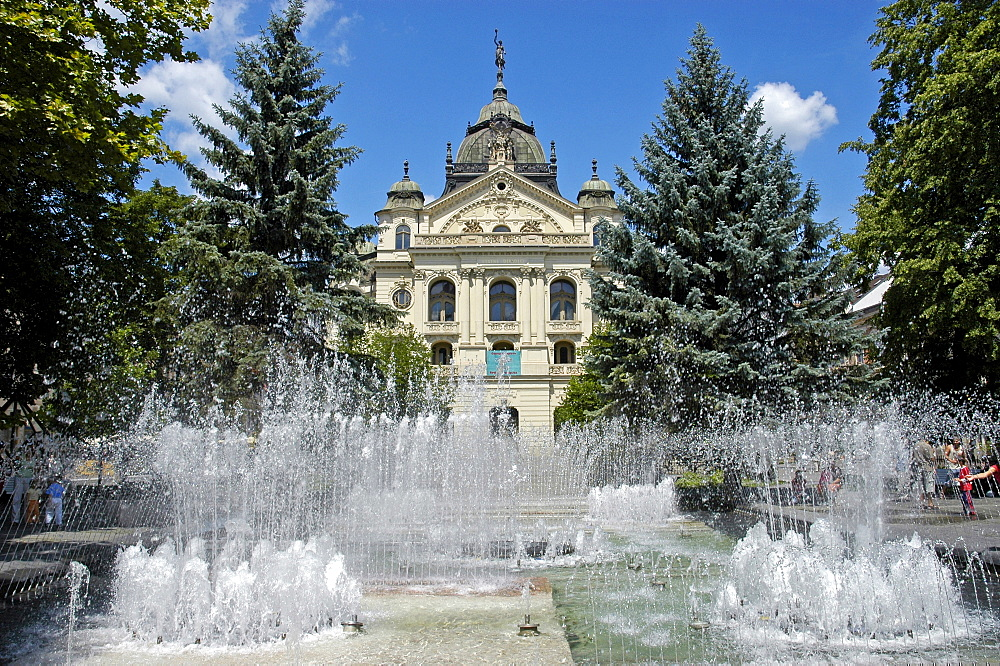 The Singing Fountain and the State Theatre, Kosice, Slovakia, Slovak Republic