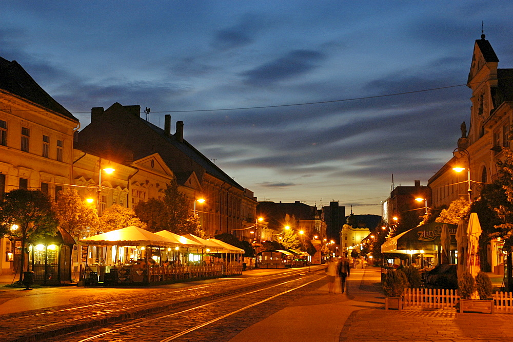 Main street at night, Kosice, Slovakia, Slovak Republic