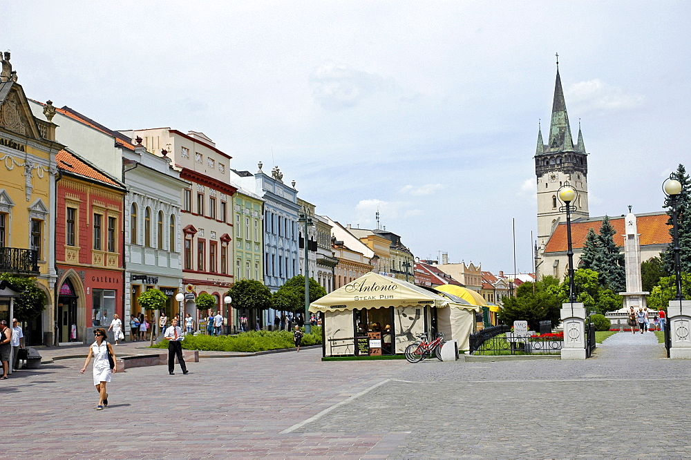 Main street with Cathedral of St. Nicolas, Presov, Slovakia, Slovak Republic