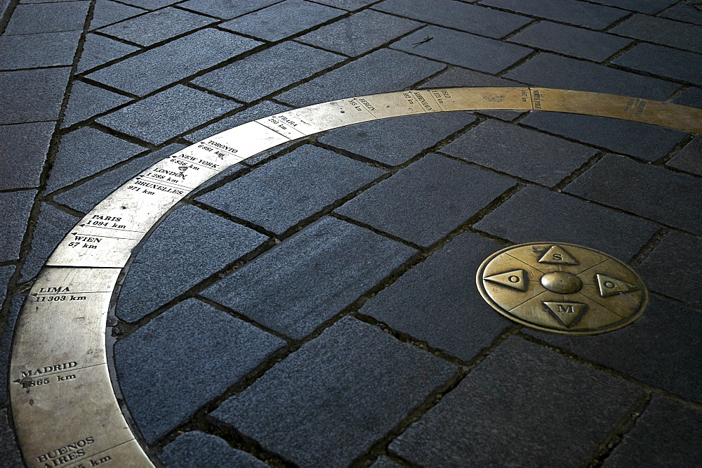 World circle, marking of distances at the Michaelsgate, Bratislava, Slovakia
