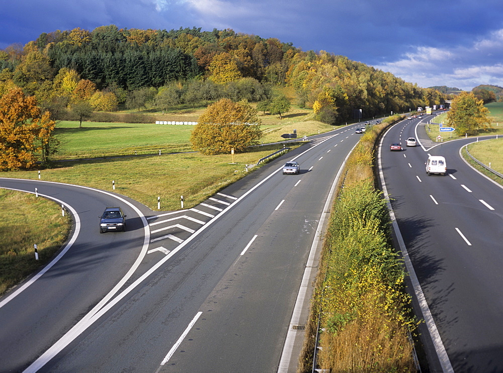 View onto the autobahn, motorway in Germany