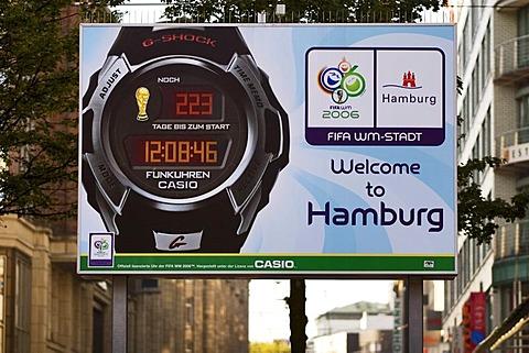 Digital clock counting countdown football world championship 2006 Hamburg Germany