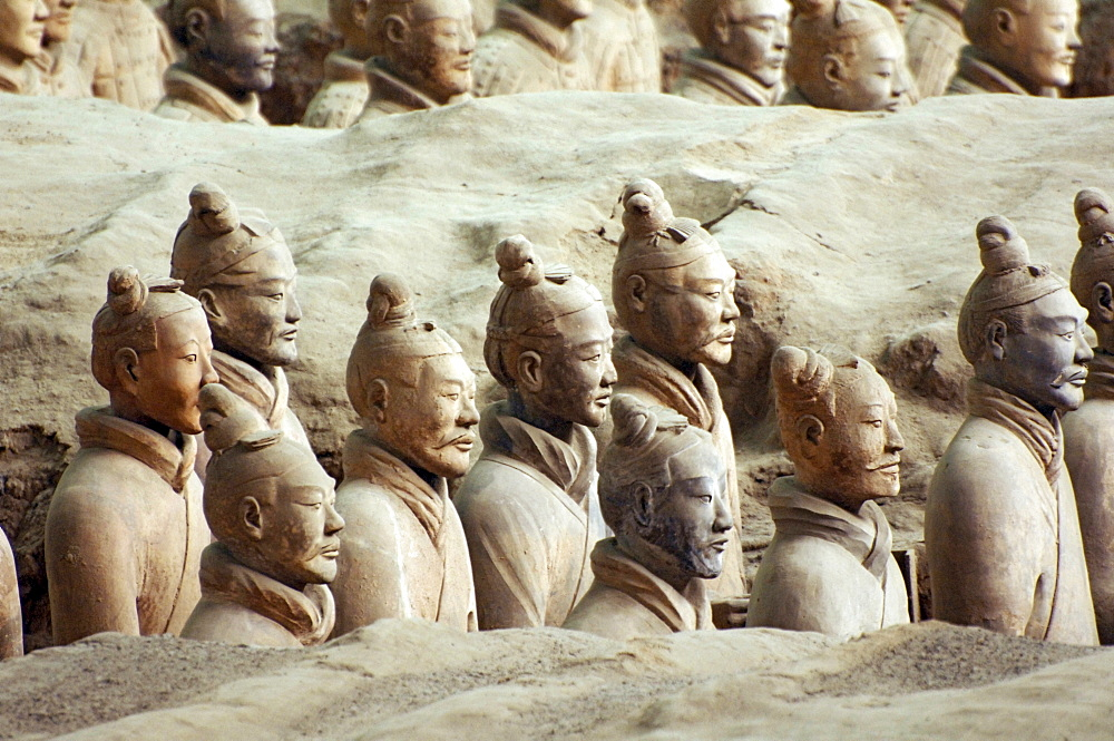 Terracotta warriors, Terracotta Army in the Mausoleum of the First Qin Emperor near Xi'an, Shaanxi Province, China, East Asia