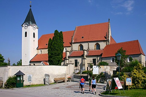 Cyclist walking to the monastery of Ardagger Lower Austria