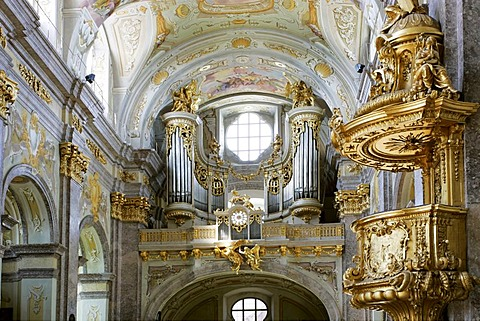 Organ and pulpit in the baroque pilgrimage church on the Sonntagsberg designed and planned by Jakob Prandtauer und Joseph Munggenast Lower Austria