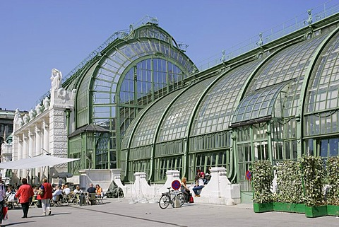 The palm house built in 1901 in the park Burggarten Vienna Austria