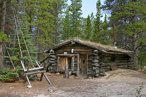 Log cabin Chilkoot Trail British Columbia Canada