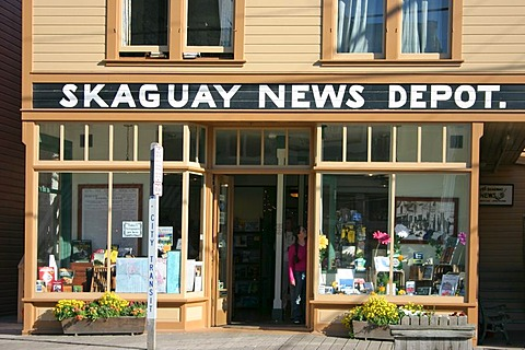 Historical wooden buildings in the gold rush town of Skagway Alaska USA