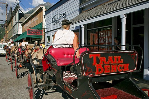 Horse drawn carriage for a sightseeing of the gold rush town of Skagway Alaska USA