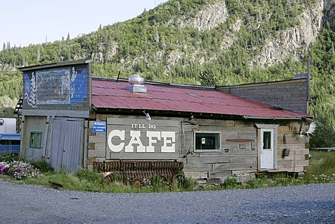 Old wooden building in the village of Chitina Alaska USA