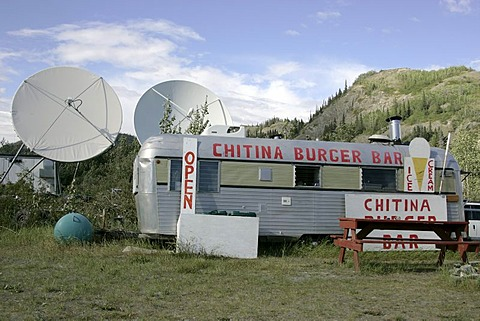 Fast food cantina and satellite dish village of Chitina Alaska USA