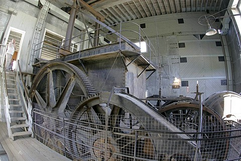 Machines in the interior of the Gold Dredge #4 Dawson Yukon Territory Canada