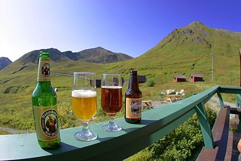 German beer meets alaskan beer at the hatcher Pass Lodge Alaska USA