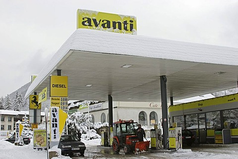 Avanti petrol station in winter with a small snow plough on the Semmering pass Lower Austria