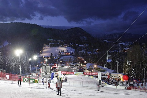 View to finish area first run ladies night slalom 12 29 2004 on Semmering in Lower Austria