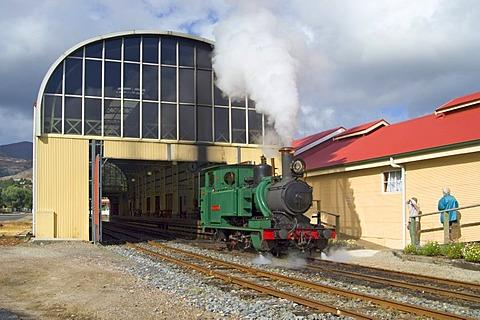 Steam engine of ABT railway in Queenstown Tasmania Australia