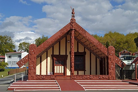 Tamatekapua Meeting House in Ohinemutu on Lake Rotorua New Zealand