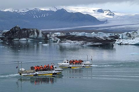 Amphibian vehicle at the glacier lake Jokulsarlon Iceland