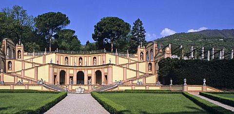 Garden of castle of the duke Bettoni on Lake of Garda Italy