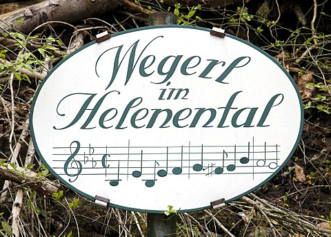 A sign which refers to a popular song about the path in the Helenen valley Baden Lower Austria