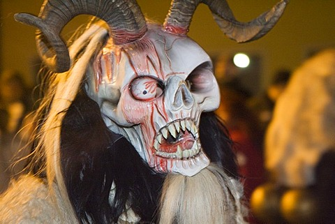 The old advent rite Krampus is celebrated in the village of St Veit