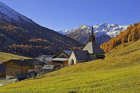 Gotic church St.Nikolaus, mountain village Rojen (2000m), South Tyrol, Italy