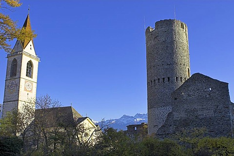 Frohlichs tower, Mals, village of Glurns, Upper Vinschgau, South Tyrol, Italy