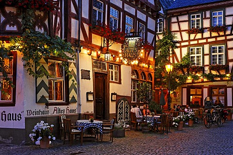 A cosy restaurant called Old House, Bacharach on the Rhine, Rheinland-Pfalz, Germany