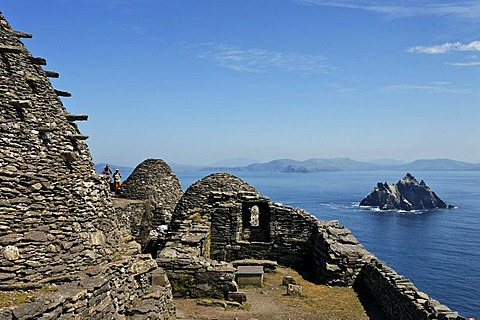 The stone houses which are built without cement the monk settlement which was founded 588 and was abandoned about 1100, Skellig Michael, Ireland