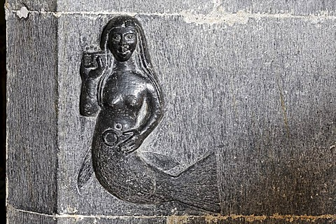Reliefs of a mermaid (15.century) in the interior of the romanic church, Clonfert, Galway, Ireland