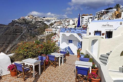 Terrace of a restaurant, Thira, Santorini, Greece