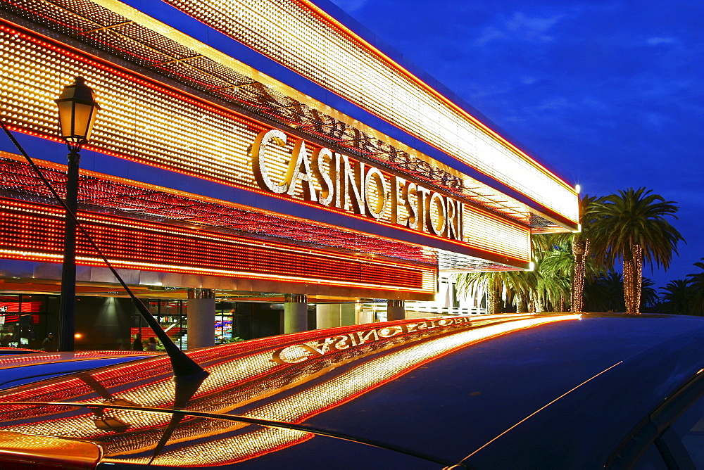Casino Estoril at dusk, Lisbon, Portugal, Europe