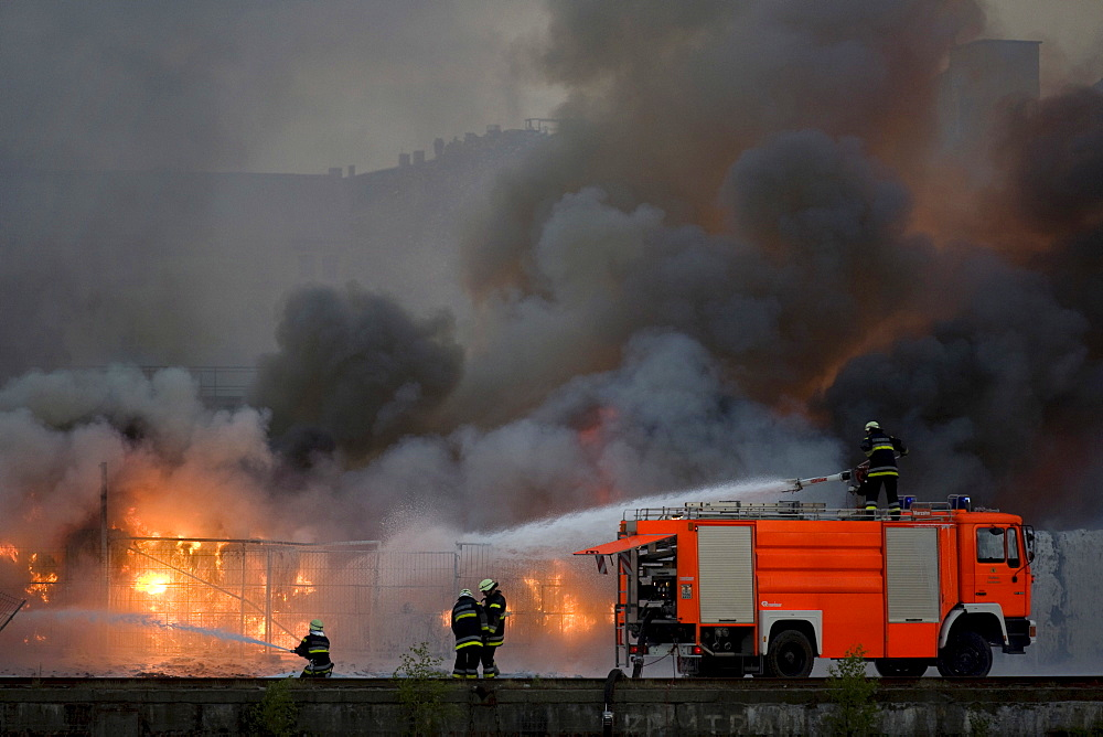 Fire at a paper warehouse, Kreuzberg, Berlin, Germany, Europe