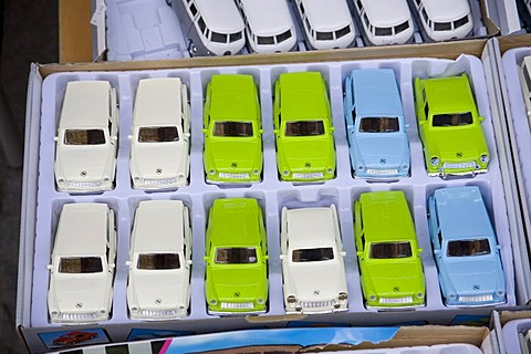Wind up toy cars (Trabbis), made in China, seen at a Souvenir shop at the wall museum in Friedrichstrasse, Berlin, Germany, Europe