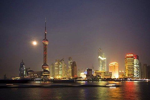 Skyline of Shanghai with Oriental Pearl Tower at night, Pudong, Shanghai, China
