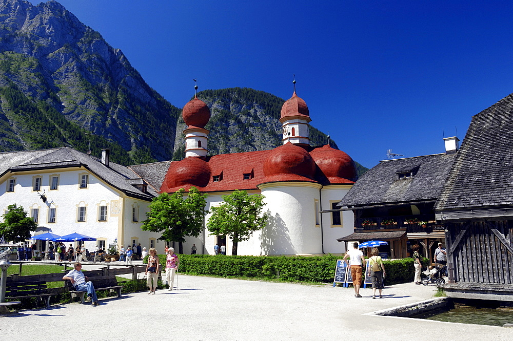 St. Bartholomae pilgrimage church and restaurant with beer garden, Konigssee, Berchtesgaden National Park, Bavaria, Germany, Europe