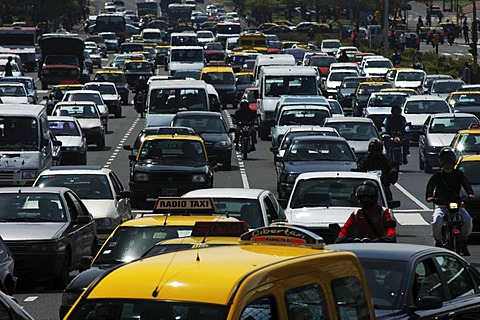 Heavy traffic during the rush hour on the widest avenue of the world, Avenida 9 de Julio, Buenos Aires, Argentina.