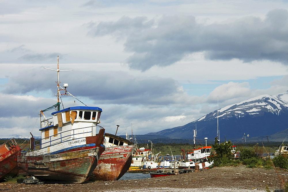 Ship wrecks, Ultima Esperanza Bay Puerto Natales, Chile