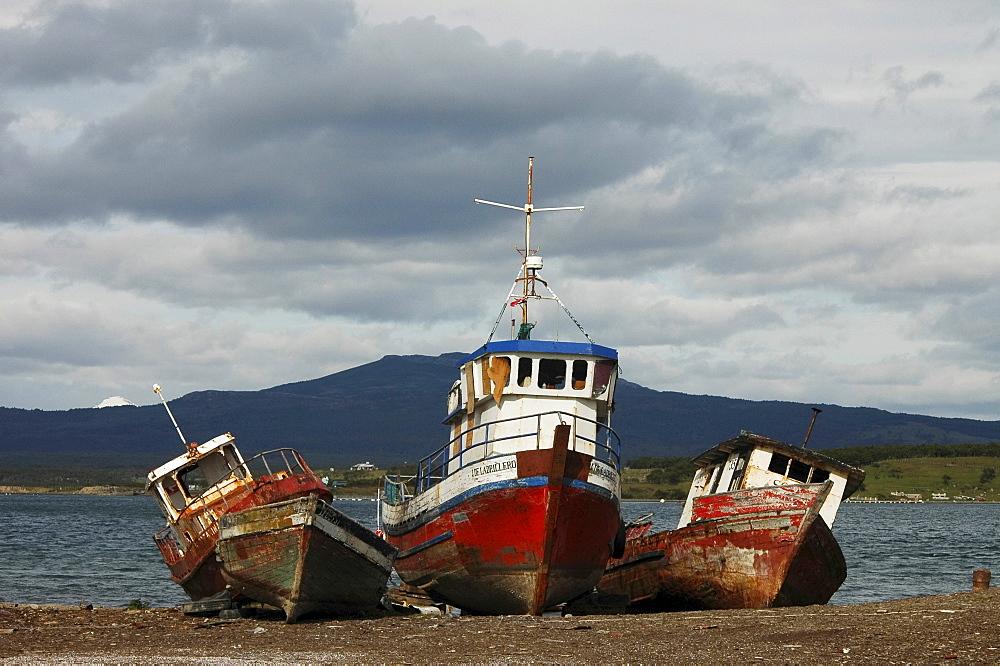 Three ship wrecks, Ultima Esperanza Bay, Puerto Natales, Chile