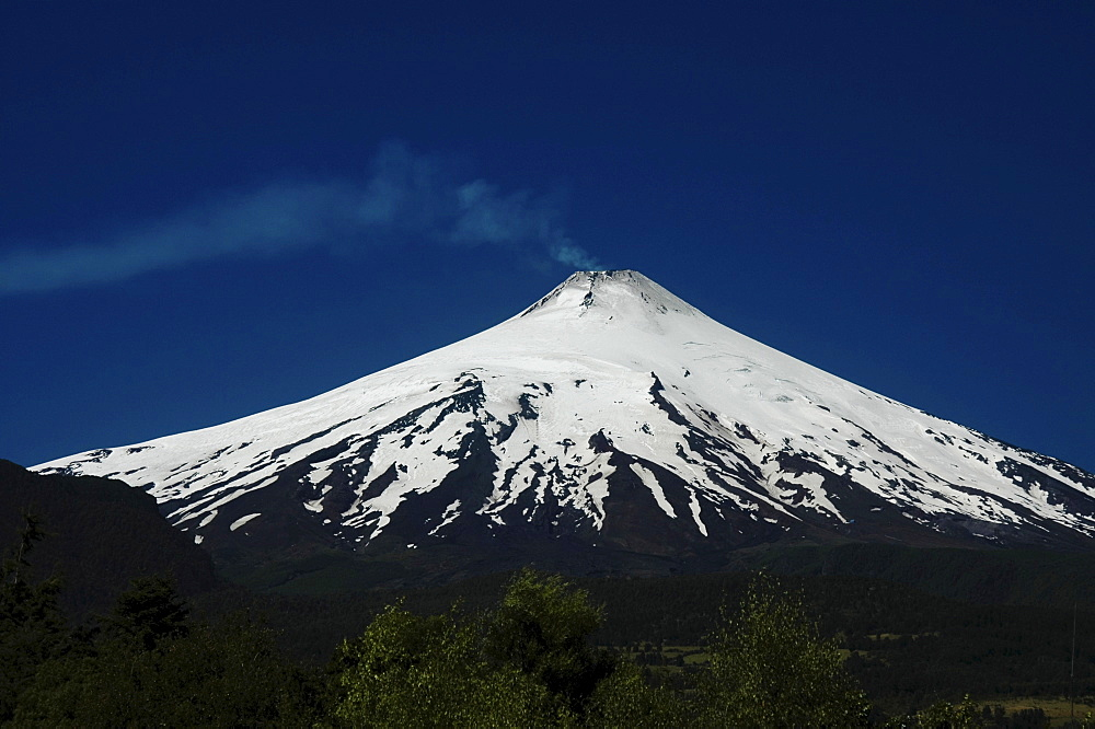 Volcano Villarrica seen from Pucon, Patagonia, Chile