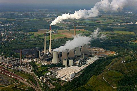 Aerial photograph, Kraftwerk Scholven, power plant with five cooling towers only, EON VEBA Kraftwerke Ruhr AG, air pollution, emission, Gelsenkirchen-Buer, Ruhr Area, North Rhine-Westphalia, Germany, Europe - 832-2863