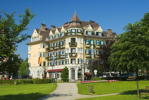 Classic building of the architectural style of Lake Woerthersee in Velden, Carinthia, Austria, Europe