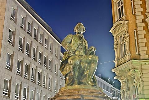 Lessing monument at Gansemarkt in Hamburg, Germany