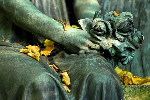 Statue of an angel in a cemetery, detail