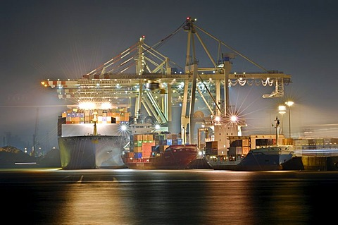 Tollerort container terminal in Hamburg harbour, Germany
