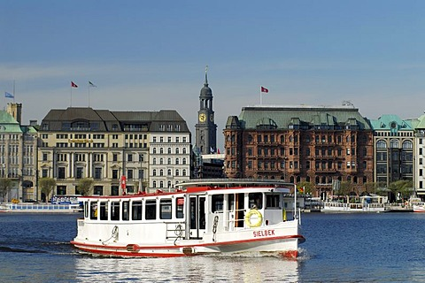 Lake Binnenalster and Alster boat in Hamburg, Germany