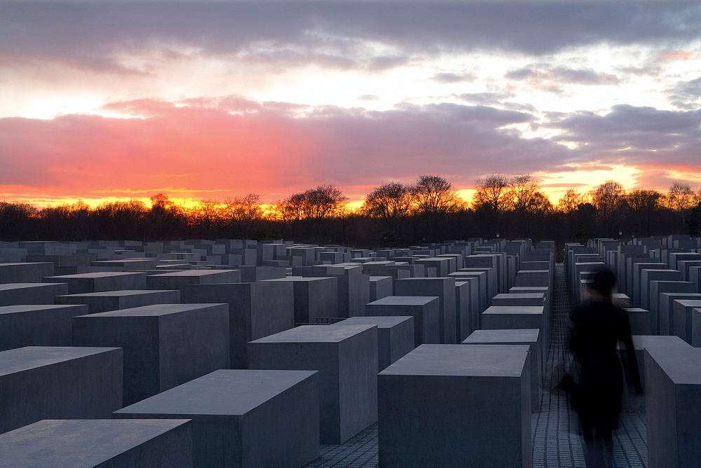 Memorial to the Murdered Jews of Europe (Holocaust Memorial) at sunset, central Berlin, Germany, Europe