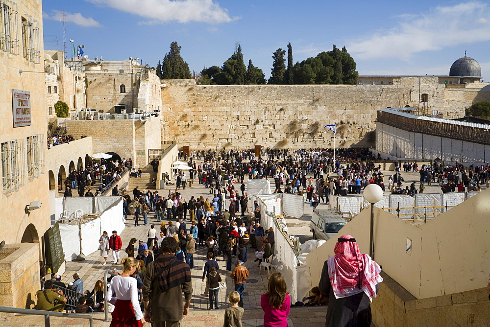 Western Wall, Wailing Wall and forecourt of the historic temple in the historic centre of Jerusalem, Israel, Middle East